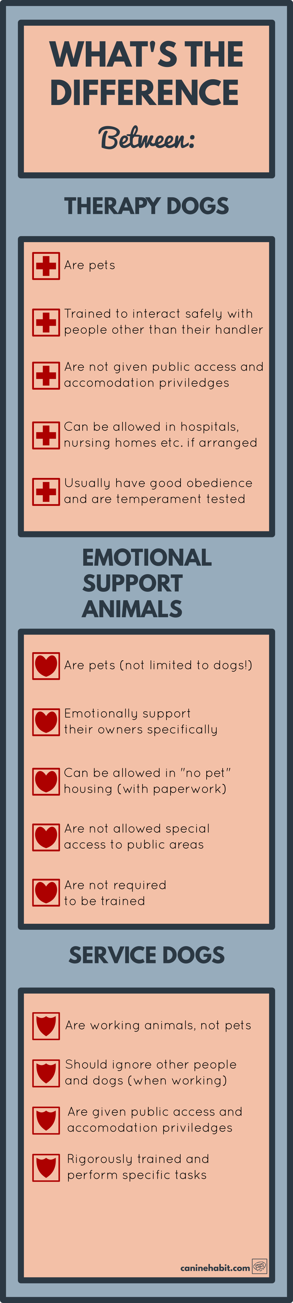 service dog vs tehrapy dog vs emotional support dog